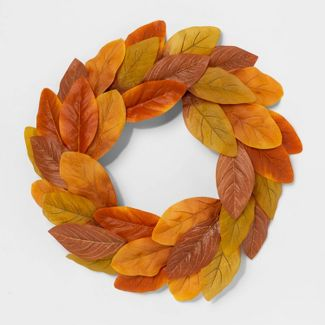 """20"""" Artificial Magnolia Leaves Wreath Orange - Threshold™"""