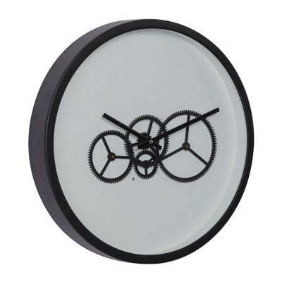 """18"""" x 18"""" Round Metal Wall Clock with Functioning Gear Center Black/White - Olivia & May"""