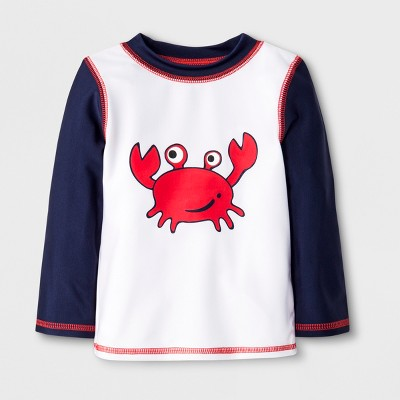 Baby Boys' Crab Rash Guard - Cat & Jack™ Navy/White 6-9M