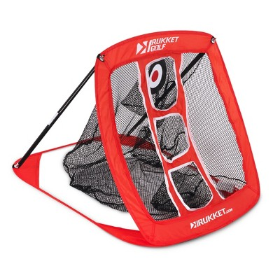 Rukket Sports Indoor/Outdoor Compact Foldable Pop-Up Practice Swing Training Golf Chipping Target Nylon Net, Red