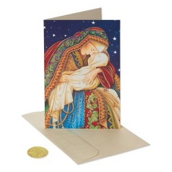 14ct Premium Madonna and Child Christmas Boxed Greeting Cards and Gold Foil-Lined White Envelopes