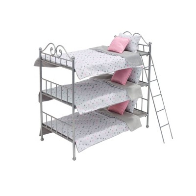 Badger Basket Scrollwork Metal Triple Doll Bunk Bed with Ladder and Bedding - Silver/Pink/Stars