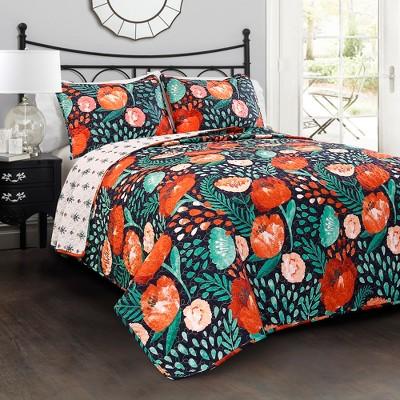 Navy Poppy Garden Quilt Set (King)- Lush Decor