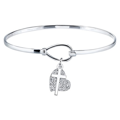 Silver Plated Bracelet with Pave Crystal Heart and Cross Charms - image 1 of 2