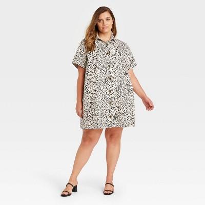 Women's Short Sleeve Shirtdress - Who What Wear™ Off-White Leopard Print