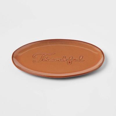 "12"" x 8"" Stoneware Thankful Serving Platter - Threshold™"