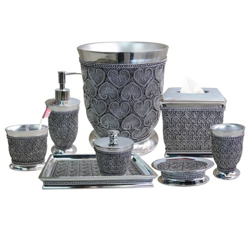 8pc Beaded Heart Bath Accessory Set For, Silver Bathroom Accessories Sets