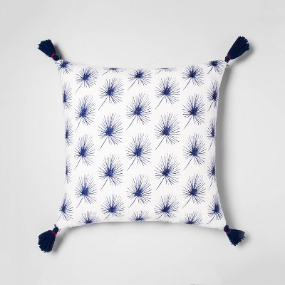 Printed Palm Oversize Square Throw Pillow White/Blue - Opalhouse™