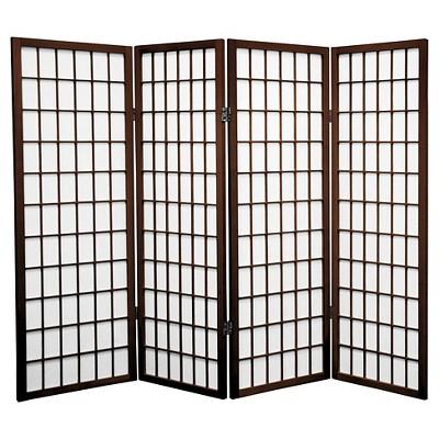 4 ft. Tall Window Pane Shoji Screen - Walnut (4 Panels)