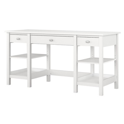 Bush Furniture Broadview 60W Desk with Storage Shelves and Drawers, Pure White BDD160WH-03