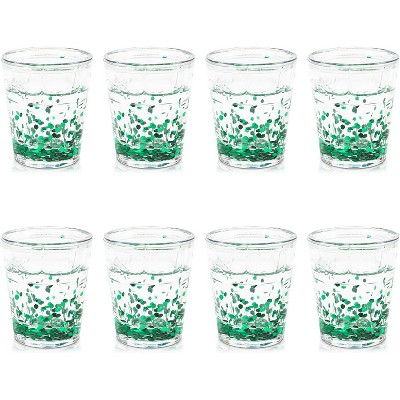 Juvale 8 Pack Green Confetti Glitter Double Walled Plastic Party Shot Glasses