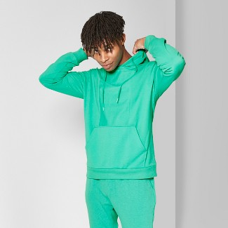 Men's Regular Fit French Terry Reverse Panel Hooded Pullover Sweatshirt - Original Use™ Bright Jade L