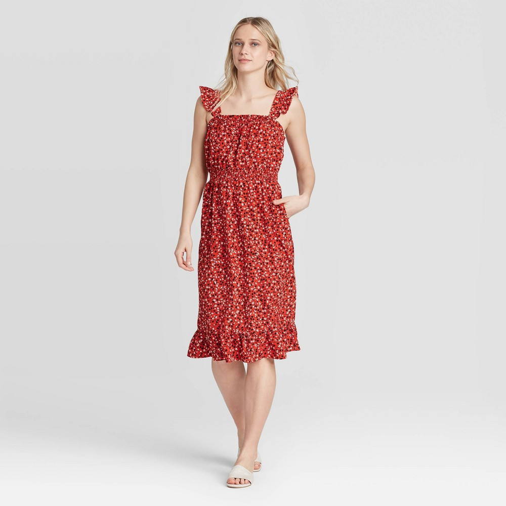Women's Floral Print Flutter Sleeveless Dress - Who What Wear Red XXL was $34.99 now $24.49 (30.0% off)