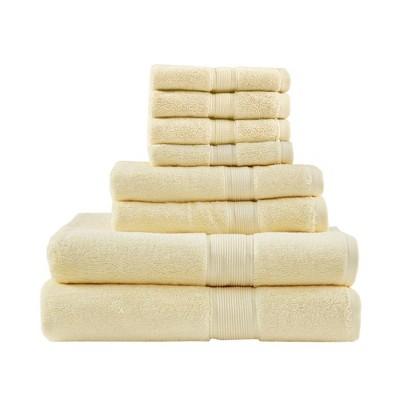 8pc Cotton Bath Towel Set Yellow