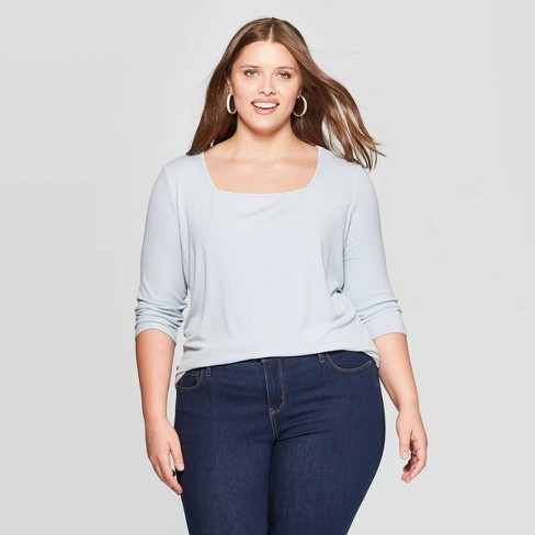 Women's Plus Size Long Sleeve Square Neck Rib Top - Ava & Viv™ - image 1 of 2
