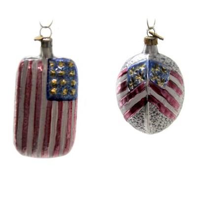 """Patriotic 3.5"""" Americana Flag & Oval Set/2 Ornamet Vintage Patriotic Flag  -  Tree Ornaments"""
