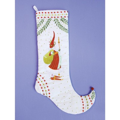 """Patience Brewster 29"""" White and Red Santa Claus Holding a Candlestick Christmas Stocking"""