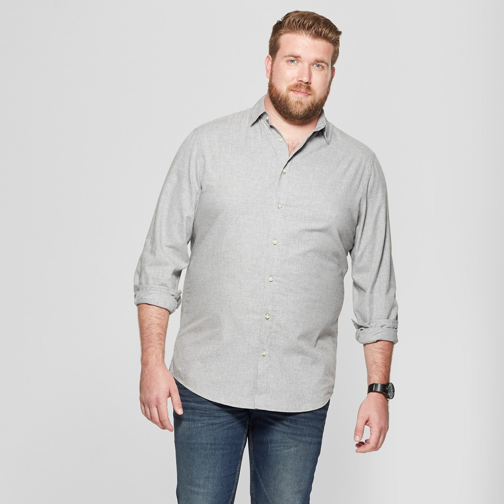 Men's Big & Tall Long Sleeve Dressy Casual Button-Down Shirt - Goodfellow & Co Heather Grey 3XB