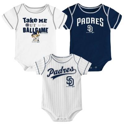 San Diego Padres Boys' 3pk Bodysuit Set - 6-9M