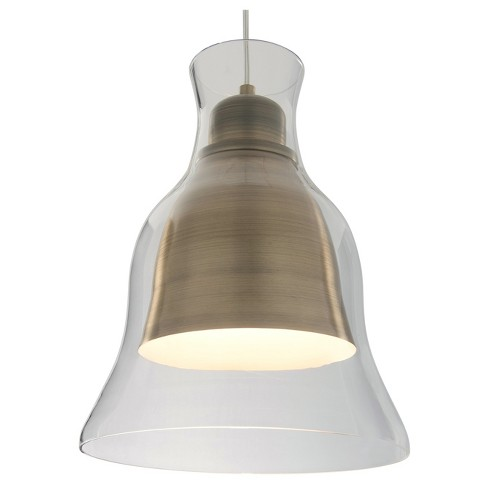Spinners 1-Light Mini Pendant with Clear Glass Shade - Antique Brass - Rogue Décor - image 1 of 2
