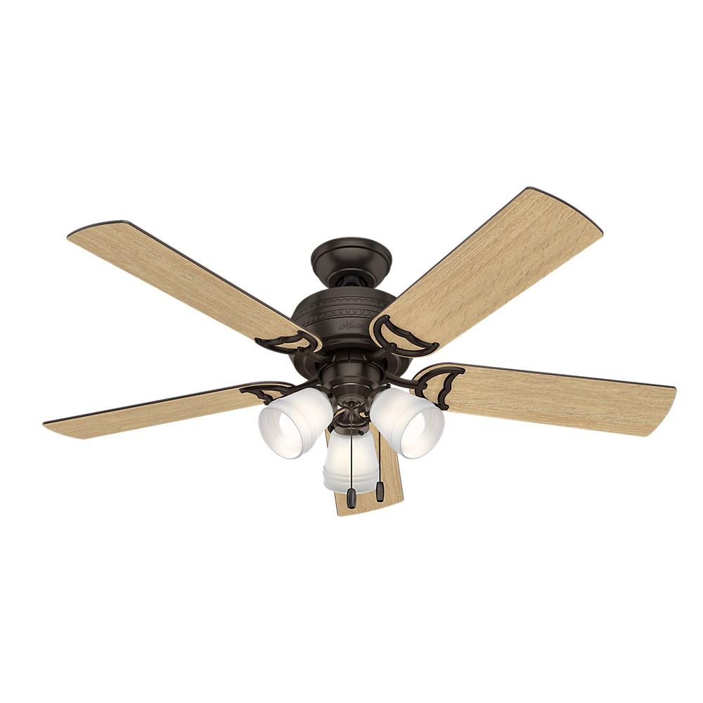 "Image of ""52"""" Prim Premier LED Lighted Ceiling Fan Bronze - Hunter Fan"""