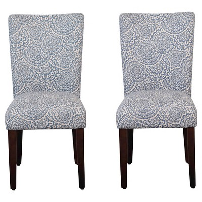 Set of 2 Parson Dining Chair Wood/Periwinkle - Floral - HomePop