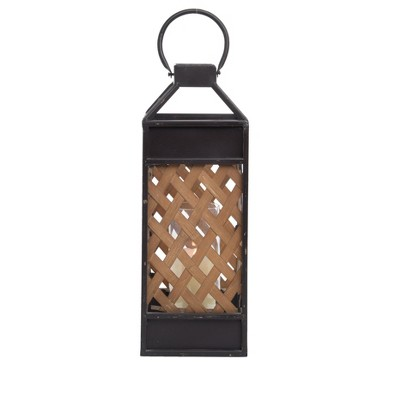 Woven Rattan and Metal Pillar Candle Holder - Foreside Home & Garden