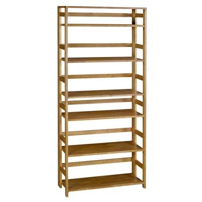"67"" Cakewalk High Folding Bookcase Medium Oak - Regency"