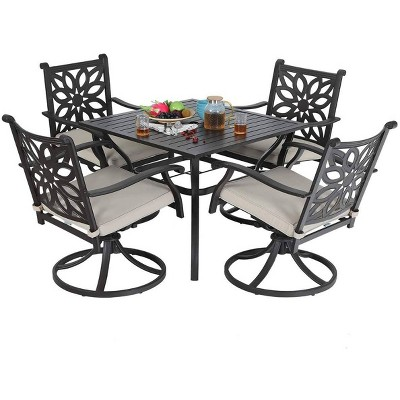 """5pc Patio Set with 37"""" Metal Table & Extra Wide Swivel Chairs with Cushions - Captiva Designs"""