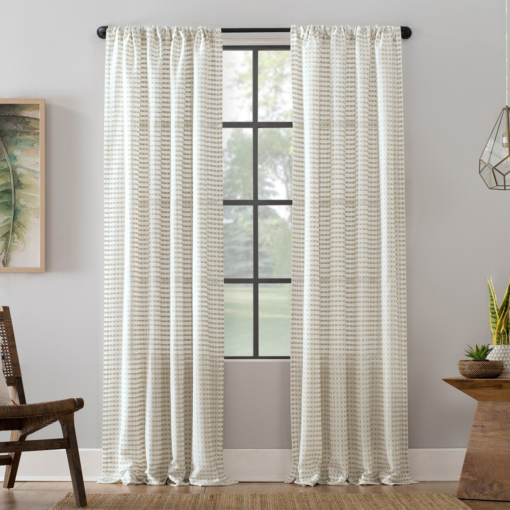 "Image of ""52""""x63"""" Modern Check Pattern Anti-Dust Curtain Panel White - Clean Window"""