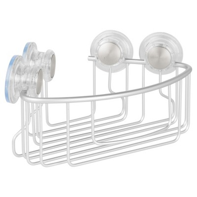 Rustproof Aluminum Turn-N-Lock Suction Bathroom Shower Corner Basket Silver - iDESIGN