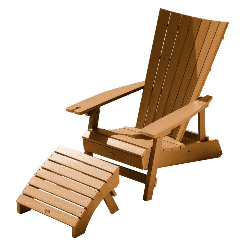 Manhattan Beach Adirondack Chair with Wine Glass Holder and Folding Adirondack Ottoman Toffee - Highwood