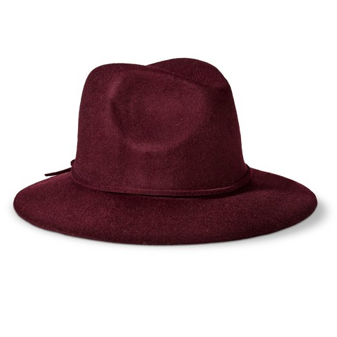 Mossimo Supply Co.™ Solid Fedora Hat - Burgundy   Target c8c70ade106