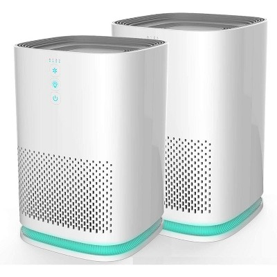 Medify Air MA-14 Compact Portable Tabletop Indoor Home Personal Air Purifier with Higher Grade of HEPA-H13 Filter for 200 Sq. Ft Rooms, White (2 Pack)
