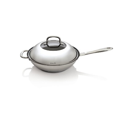 """BergHOFF CollectNCook 11"""" 18/10 Stainless Steel Non-Stick Covered Wok, 3.4 Qt"""