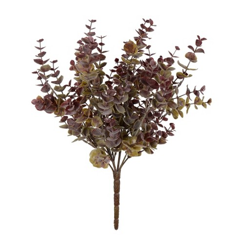 """Vickerman 14"""" Artificial Green and Red Mini Jade Leaf Bush UV Coated. - image 1 of 2"""