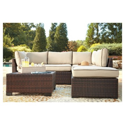 Merveilleux Loughran 4pc All Weather Wicker Patio Conversation Set   Brown/Ivory    Outdoor By Ashley : Target