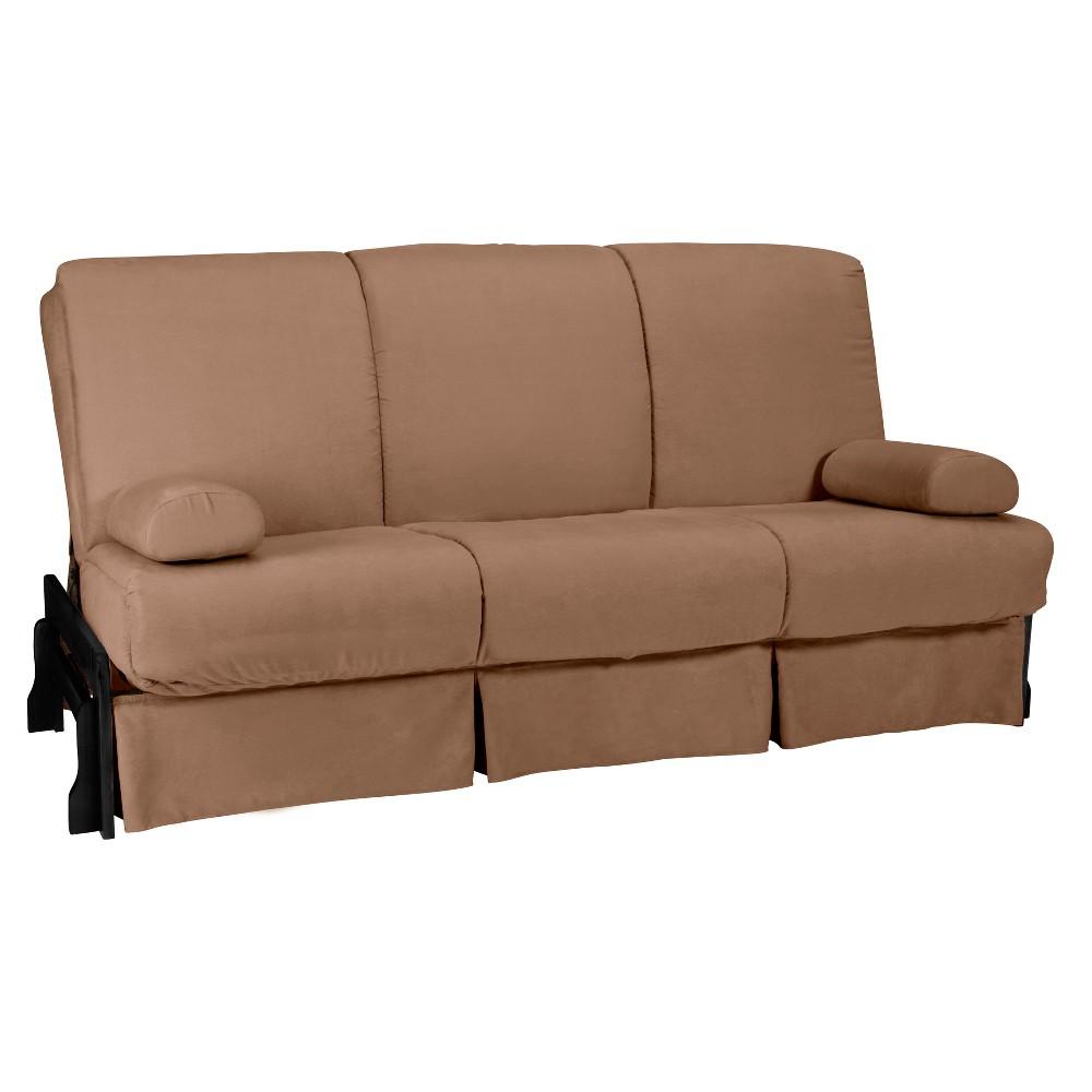 Low Arm Perfect Futon Sofa Sleeper Black Wood Finish - Epic Furnishings, Pecan