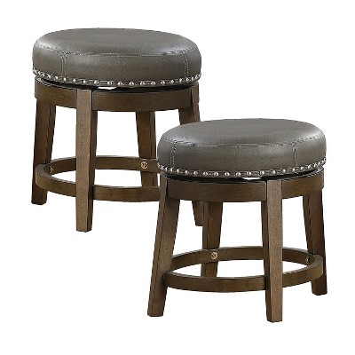 Lexicon Whitby 18 Inch Dining Height Wooden Bar Stool with Solid Wood Legs and Faux Leather Round Swivel Seat , Gray (2 Pack)