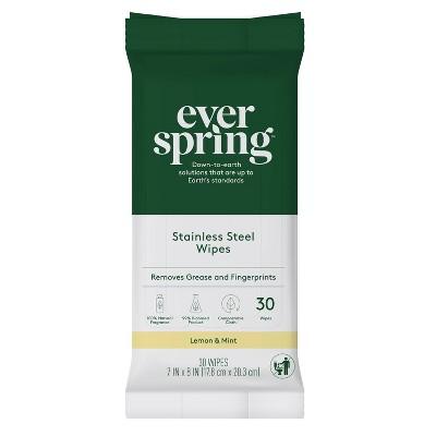 Stainless Steel Wipes Lemon & Mint - 30ct - Everspring™