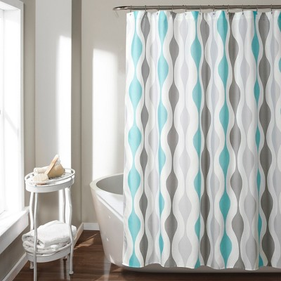 Mid Century Geo Shower Curtain Blue - Lush Décor