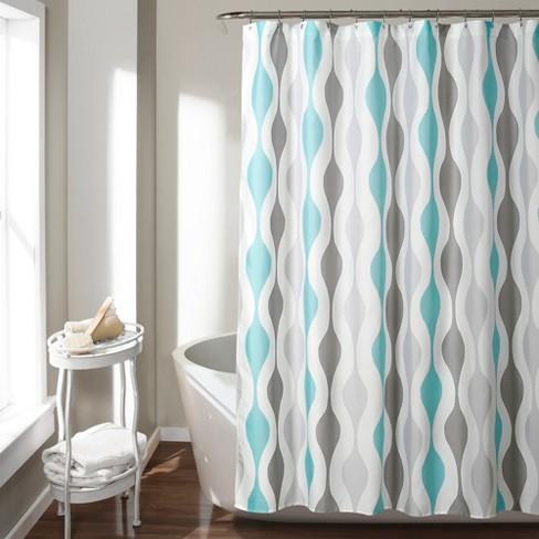 Mid Century Geo Shower Curtain Blue - Lush Decor - image 1 of 3