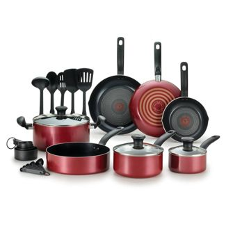 T-fal Simply Cook Prep and Cook Nonstick 17pc Set - Red