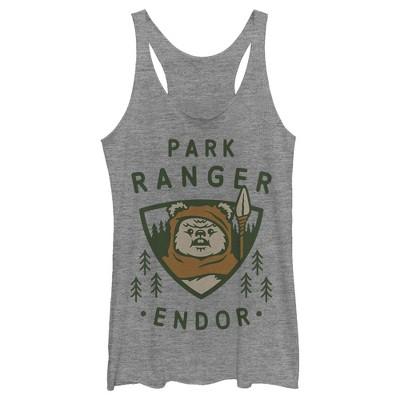Women's Star Wars Park Ranger Endor Ewok Badge Racerback Tank Top