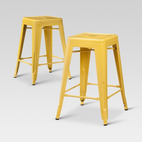 Terrific Carlisle Metal 24 Counter Stool Yellow Set Of 2 Threshold Creativecarmelina Interior Chair Design Creativecarmelinacom