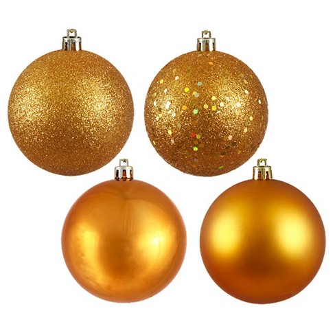 60ct Antique Gold Assorted Finishes Shatterproof Christmas Ornament Set - image 1 of 1