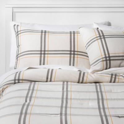 Full/Queen Flannel Plaid Comforter & Sham Set Cream/Gray - Threshold™