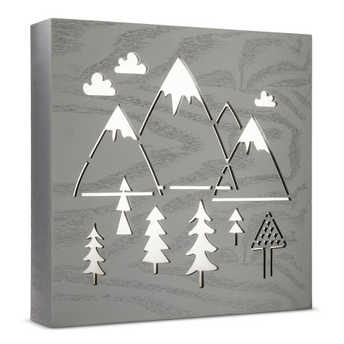 LED Light Box Mountains - Cloud Island™ Light Gray - image 1 of 1