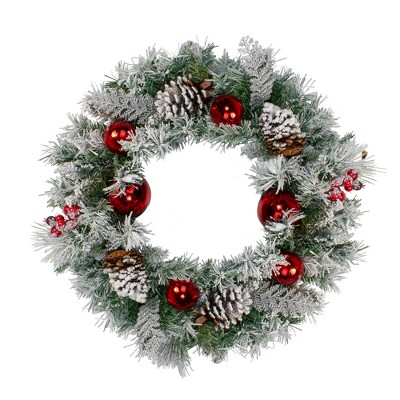 Northlight Flocked Pine with Red Ornaments and Berries Artificial Christmas Wreath - 24-Inch, Unlit