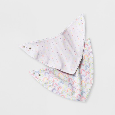 Baby Girls' 2pk Rainbow Bandana Bib - Cloud Island™ White/Pink One Size
